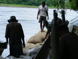 cocoa bags transported on motorise canoe along Ramu
